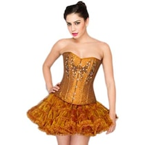 Corset Attire Gold Satin Top