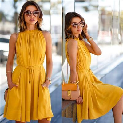 Crease & Clips High Neck Pleated Style Halter Dress Yellow