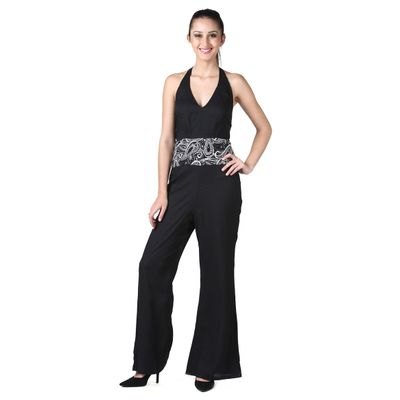D&S Black Rayon Sleeveless V-Neck Printed Regular Fit Jump Suit For Women and Girls