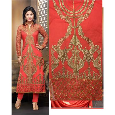 Skyblue Fashion orange Color Georgette Embroidred Straight cut suit