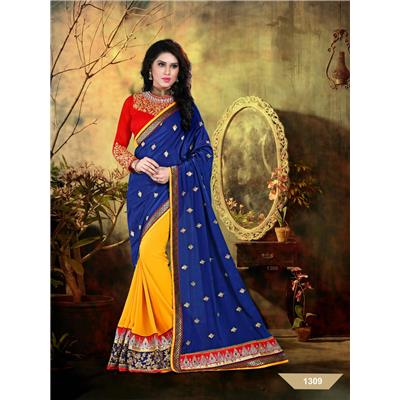 Dharma Products Designer Embroidered Party Wear Georgette Saree available at Paytm for Rs.1399