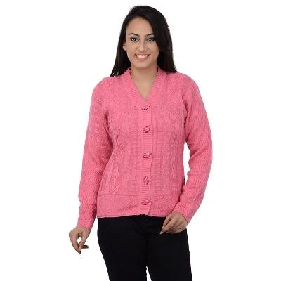 Dynamis Pink Full Sleeves V Neck Acrylic Cardigans