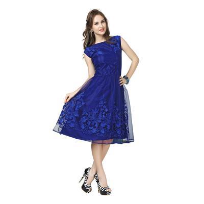 Elevate Women Women's A-line Blue Western Dress