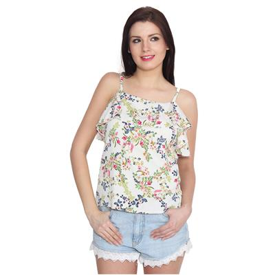 ELI Multicolour Floral Print Off-Shoulder Western Party Wear Casual Women Strappy Top