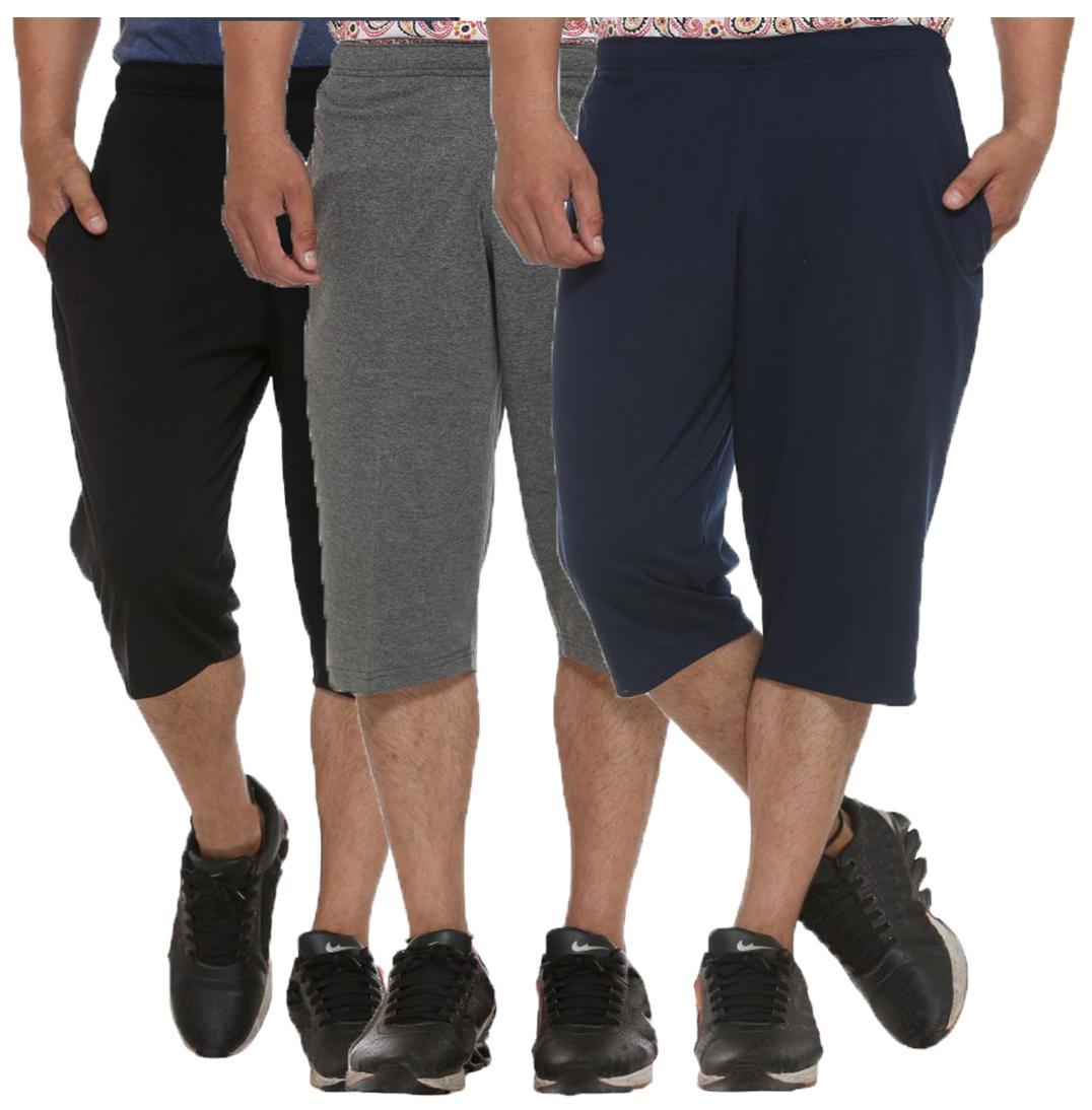 ELK Mens's Cotton Three Fourth Shorts Capri Trouser Clothing 3 Color Set Combo