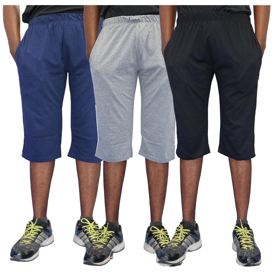 ELK Mens's Cotton Three Fourth Capri Shorts Trouser Clothing 3 Color Set Combo