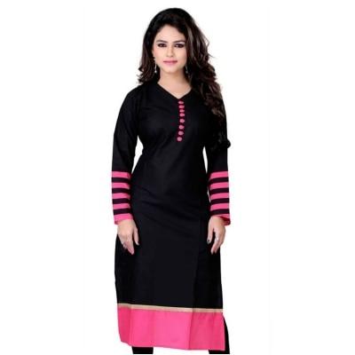 Fashion Founder Black Cotton Straight Fit Kurti