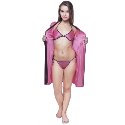 Fashion Xposed Women Pink Short Satin Robe with Panty and...
