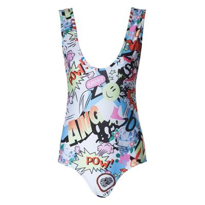 Fashionable Scoop Neck Full Print Slimming Women's Swimsuit # International Bazaar