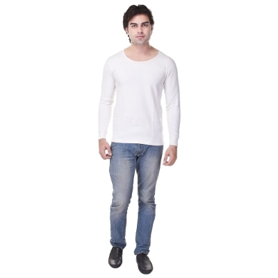 Flavia Creation Men's Cotton Solid White Thermals