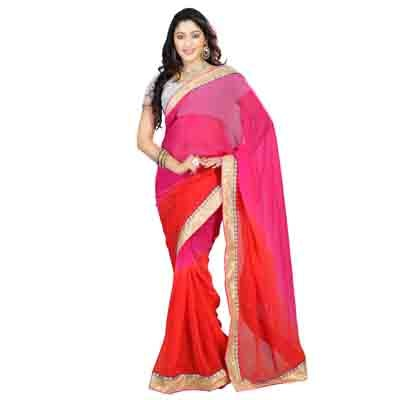 Florence Pink Faux Georgette Embroidered Saree with Blouse