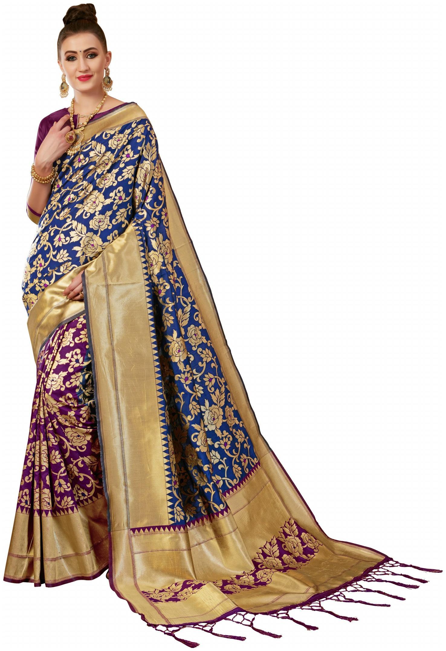 GENIUS CREATION Silk Banarasi Embroidered Work Saree - Multi