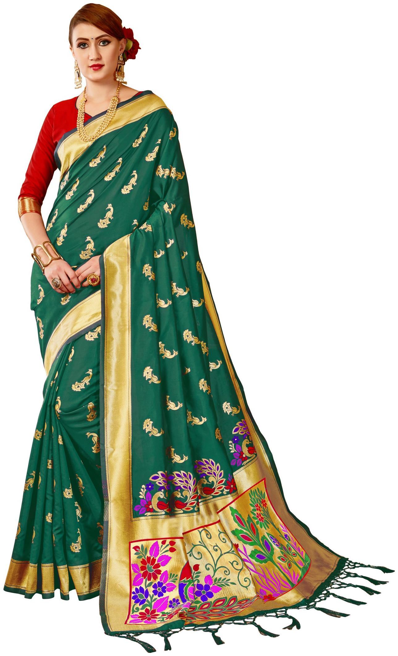 GENIUS CREATION Silk Banarasi Embroidered Work Saree - Turquoise