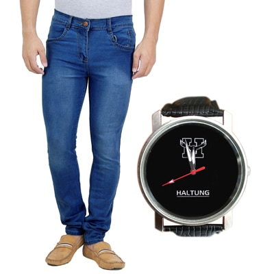 haltung Blue Cotton Blend Regular Fit Jeans With Watch