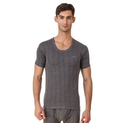 HAP Kings Quilted Thermal Round Neck Top half sleeve (Dark Grey )