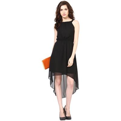 Harpa Black Georgette Regular Fit Dress (Size-S)