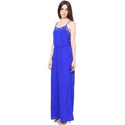 Harpa Blue Crepe Jumpsuit (Size-M)