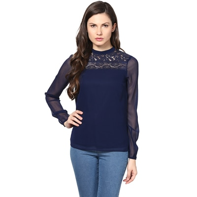 Harpa Blue Polyester And Chiffon Top (Size-S)