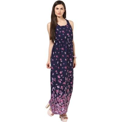 Harpa Dark Blue Crepe Dress (Size-S)