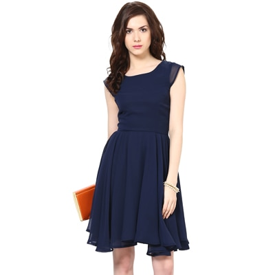 Harpa Dark Blue Georgette Dress (Size-S)