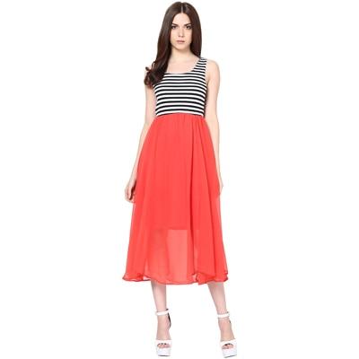 Harpa Orange Georgette Dress (Size-S)