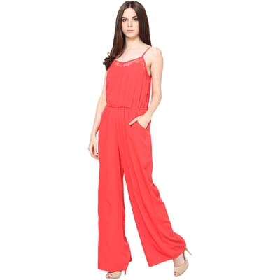 Harpa Red Crepe Jumpsuit (Size-S)
