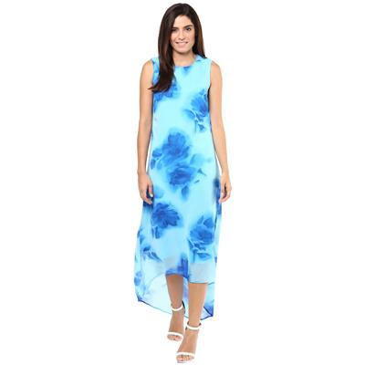 Harpa Skyblue Georgette Round Neck Womens Dress