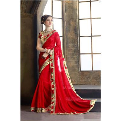 Indian Beauty Red Georgette Designer Saree