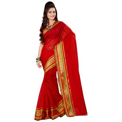 Indian Beauty Red Chex Munga Cotton Saree
