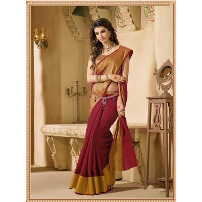 Indian Beauty Maroon Cotton Silk With Blouse Saree