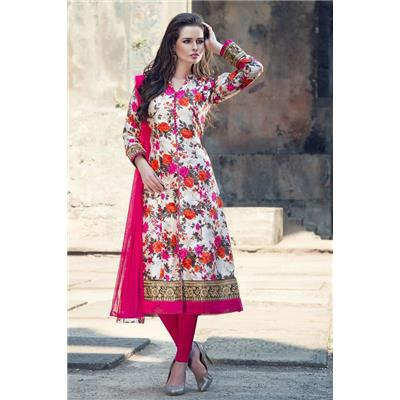 Indian Beauty Semi Stitched Designer White PInk Bhagalpuri Floral Dress