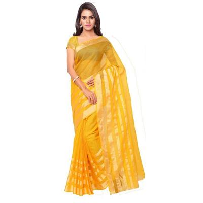 Indian Beauty Yellow Munga Cotton Saree
