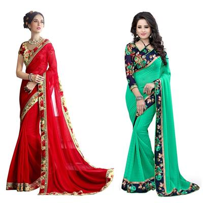 Indian Beauty Designer Red and Green combo of 02 saree