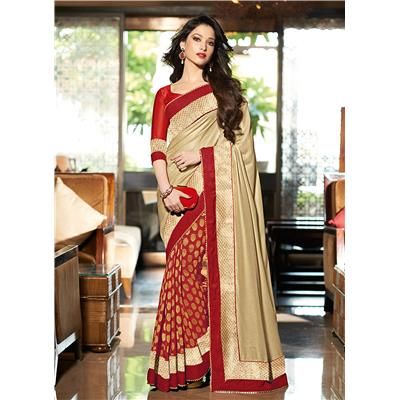 Indian Beauty red and golden Georgette Sari with blouse