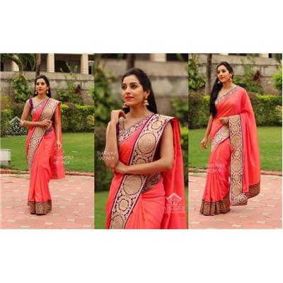Indian Beauty Chic Hot Peach Purple Designer Saree