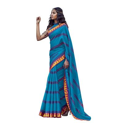 ISHIN Cotton Blue Printed Woven Party Wear Saree