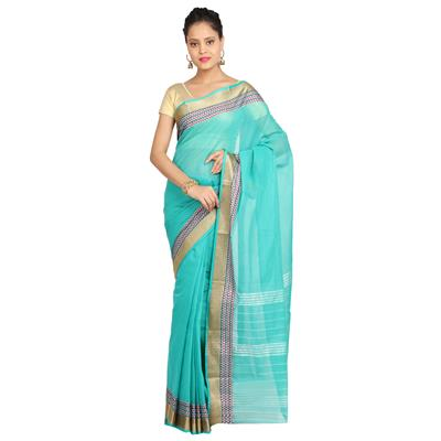 Ishin Poly Cotton Blue Woven Women's Saree