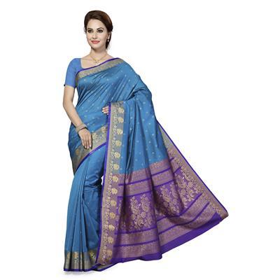 Ishin Silk Cotton Blue Woven Women's Saree.