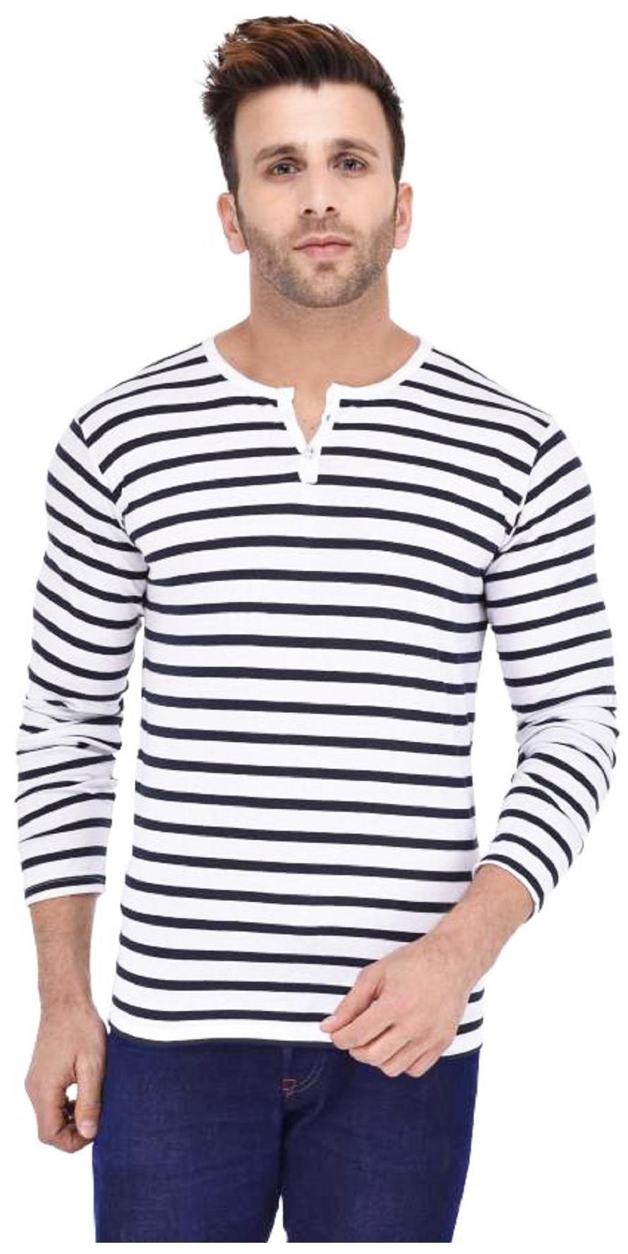 J2J Round Neck White Blue Striped Tshirt