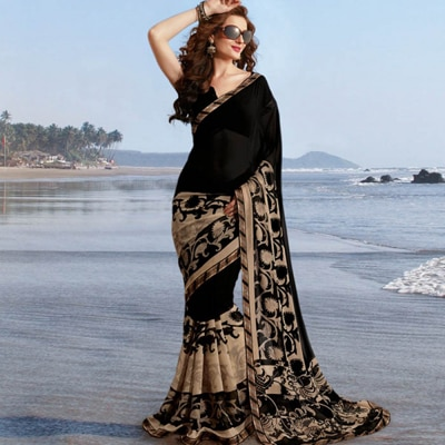 Jaanvi Fashion Designer Black Georgette Printed Saree