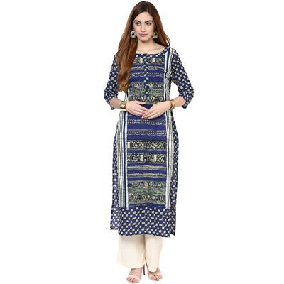 Jaipur Kurti Straight Asymmetric Blue Cotton Kurta