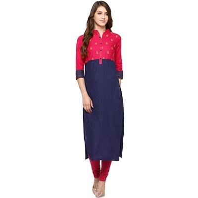 Jaipur Kurti Straight Embroidered Blue and Pink Cotton Kurta