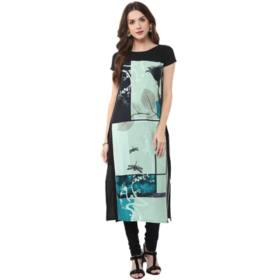 Janasya Women's Black Digital Printed Crepe Kurti
