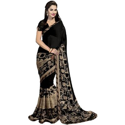 Janasya Women's Black Georgette Printed Saree with blouse