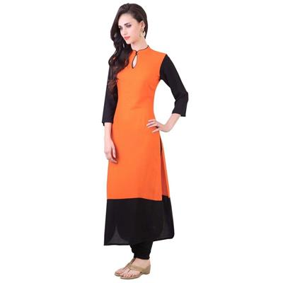 Janasya Women's Orange Kurti