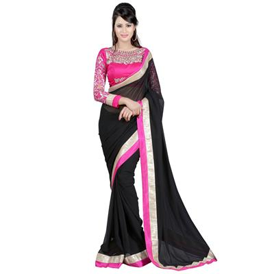 KALAZONE BLACK EMBROIDERED Faux Georgette PARTY WEAR DESIGNER SAREE available at Paytm for Rs.289