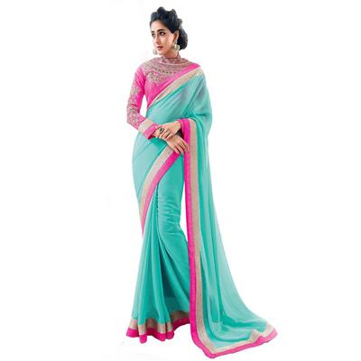KALAZONE BLUE EMBROIDERED Faux Georgette PARTY WEAR DESIGNER SAREE available at Paytm for Rs.699