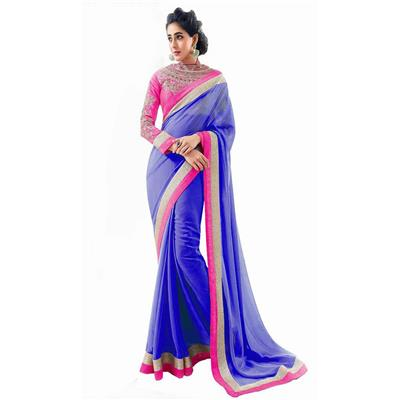 KALAZONE BLUE EMBROIDERED Faux Georgette PARTY WEAR DESIGNER SAREE available at Paytm for Rs.299