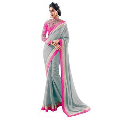 KALAZONE GREY EMBROIDERED Faux Georgette PARTY WEAR DESIGNER SAREE available at Paytm for Rs.299