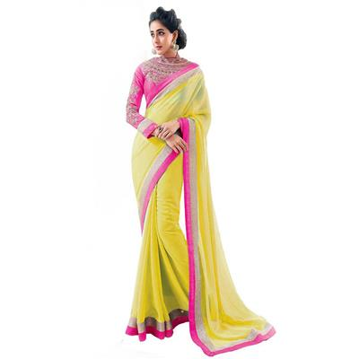 KALAZONE YELLOW EMBROIDERED Faux Georgette PARTY WEAR DESIGNER SAREE available at Paytm for Rs.299